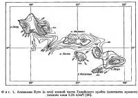 Фиг. 1. Аномалии Буге южной части Гавайского хребта