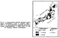 Фиг. 1. Аномальные области векового изменения магнитного поля