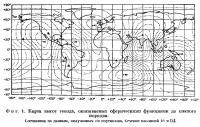 Фиг. 1. Карта высот геоида, описываемых сферическими функциями до шестого порядка