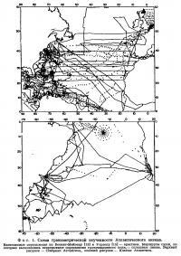 Фиг. 1. Схема гравиметрической изученности Атлантического океана