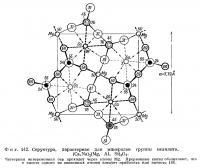Фиг. 142. Структура, характерная для минералов группы мелилита