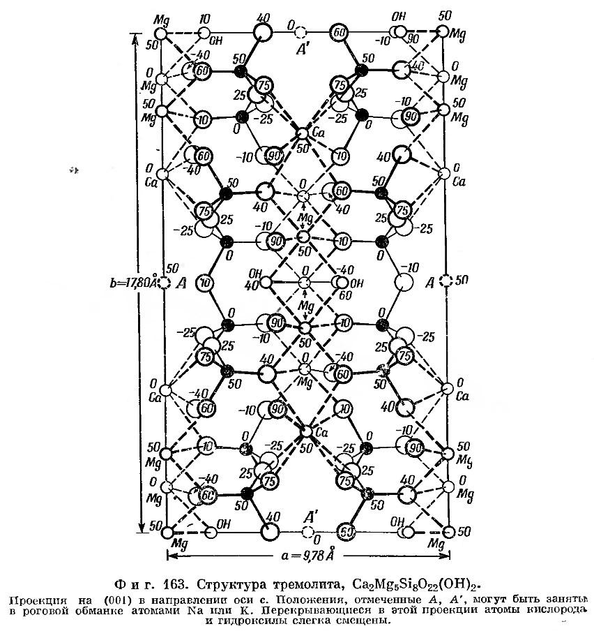 Фиг. 163. Структура тремолита