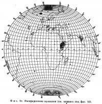 Фиг. 1г. Распределение вулканов