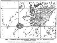 Фиг. 2. Аномалии полной интенсивности магнитного поля над Норвежским морем