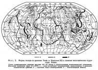 Фиг. 2. Форма геоида по данным Гюйе и Ньютона и главные тектонические структуры Земли