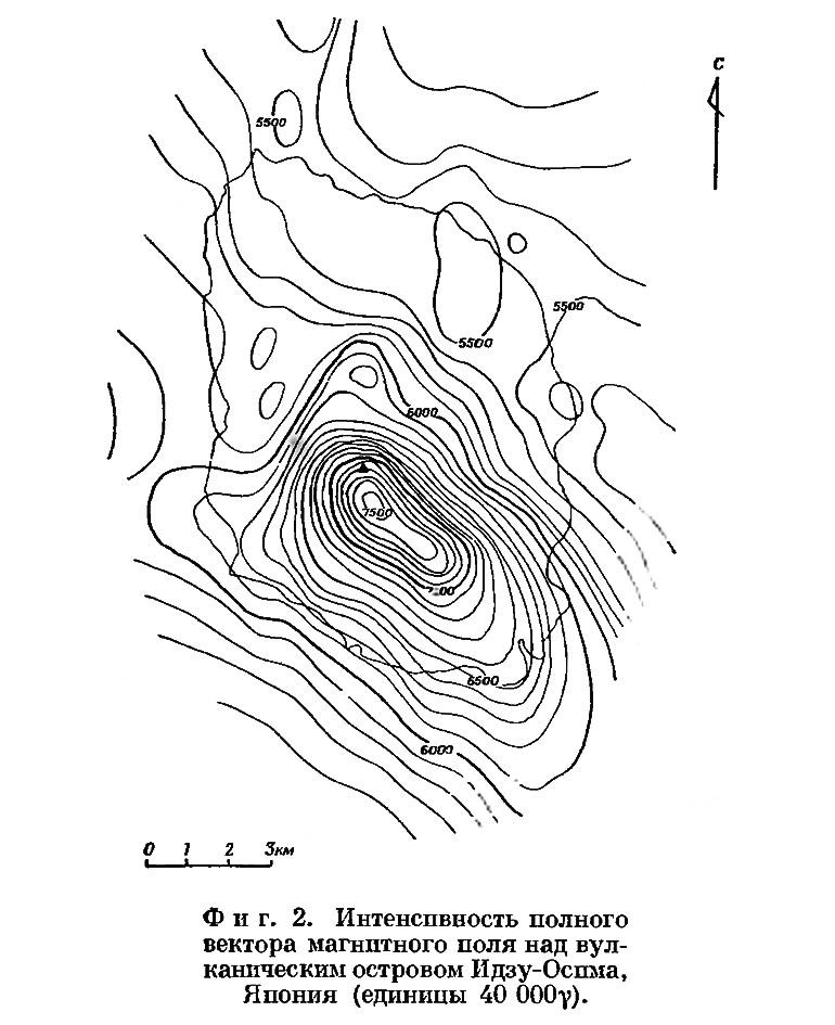 Фиг. 2. Интенсивность полного вектора магнитного поля над вулканическим островом Идзу-Оспма
