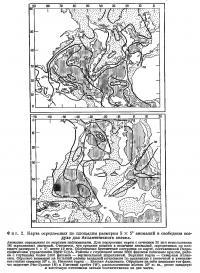 Фиг. 2. Карта осредненнх по площадям размером 5X5° аномалий в свободном воздухе
