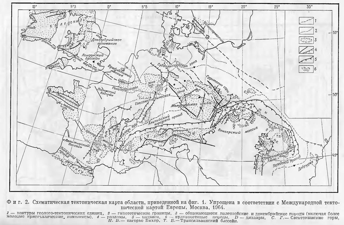 Фиг. 2. Схематическая тектоническая карта области, приведенной на фиг. 1