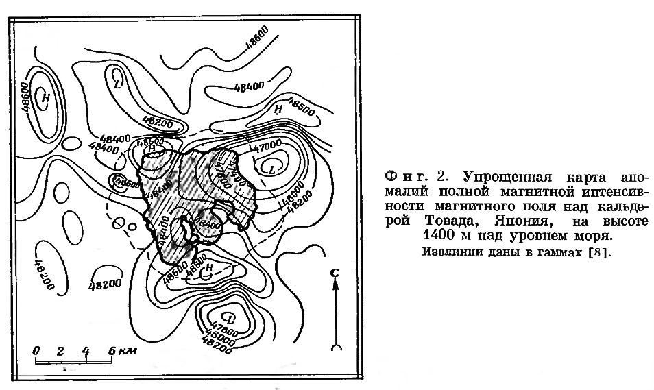 Фиг. 2. Упрощенная карта аномалий полной магнитной интенсивности магнитного поля