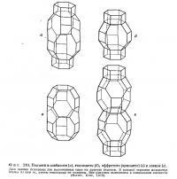 Фиг. 219. Полости в шабазите, гмелините, оффретите и Левине
