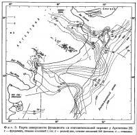 Фиг. 3. Карта поверхности фундамента на континентальной окраине у Аргентины