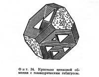 Фиг. 34. Кристалл цинковой обманки с гемиэдрическим габитусом