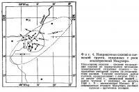 Фиг. 4. Направления сжатий и смещений грунта, связанных с роем землетрясений Мацусиро