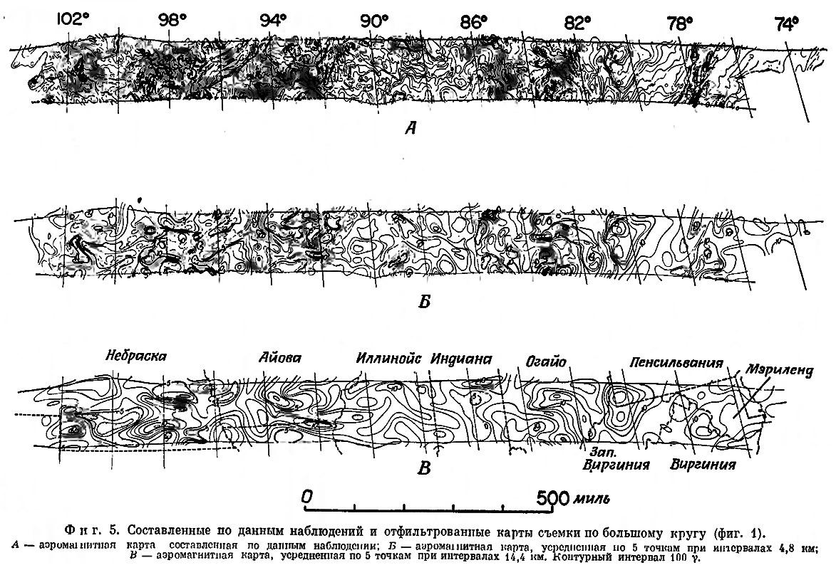 Фиг. 5. Составленные по данным наблюдений и отфильтрованные карты съемки по большому кругу