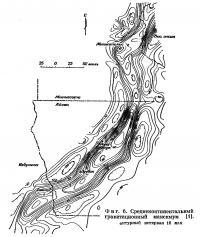 Фиг. 6. Среднеконтинентальный гравитационный максимум