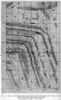 Фиг. 7. Большой изгиб магнитных аномалий в северо-восточной части Тихого океана
