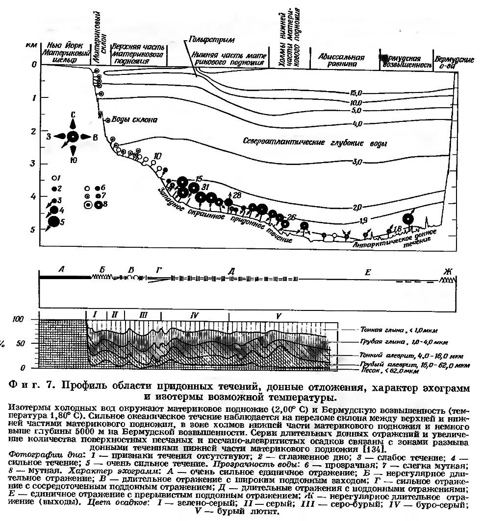 Фиг. 7. Профиль области придонных течений