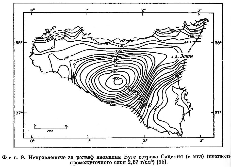Фиг. 9. Исправленные за рельеф аномалии Буге острова Сицилия