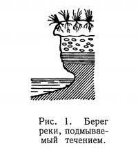 Рис. 1. Берег реки, подмываемый течением