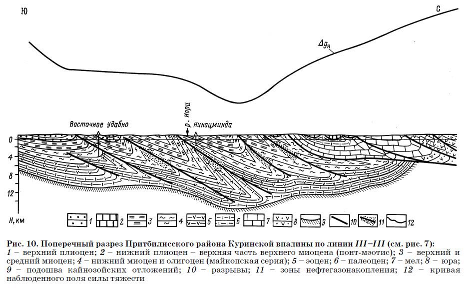 Рис. 10. Поперечный разрез Притбилисского района Куринской впадины