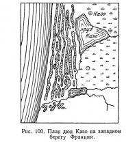 Рис. 100. План дюн Казо на западном берегу Франции