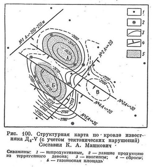 Рис. 100. Структурная карта по кровле известняка