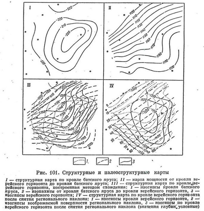Рис. 101. Структурные и палеоструктурные карты