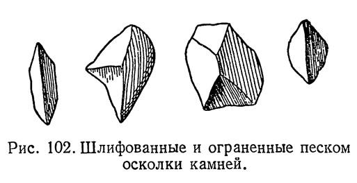 Рис. 102. Шлифованные и ограненные песком осколки камней