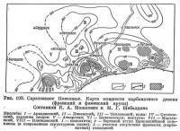 Рис. 109. Саратовское Поволжье. Карта мощности карбонатного девона