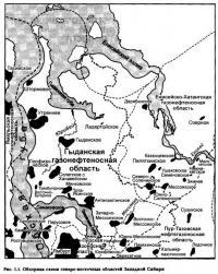 Рис. 1.1. Обзорная схема северо-восточных областей Западной Сибири