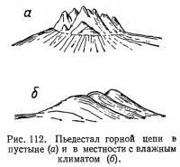 Рис. 112. Пьедестал горной цепи в пустыне и в местности с влажным климатом