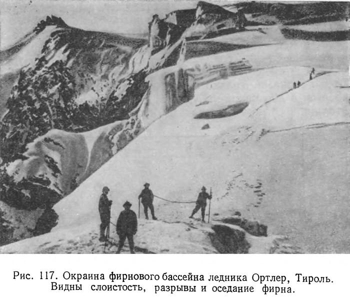 Рис. 117. Окраина фирнового бассейна ледника Ортлер, Тироль