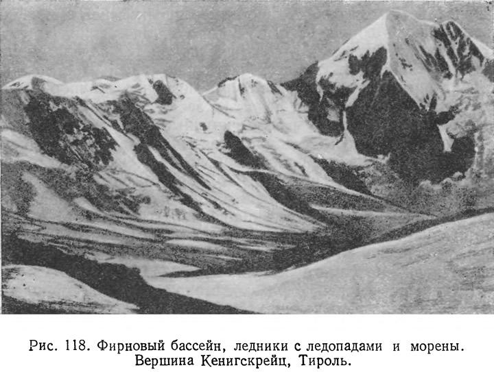Рис. 118. Фирновый бассейн, ледники с ледопадами и морены. Вершина Кенигскрейц, Тироль
