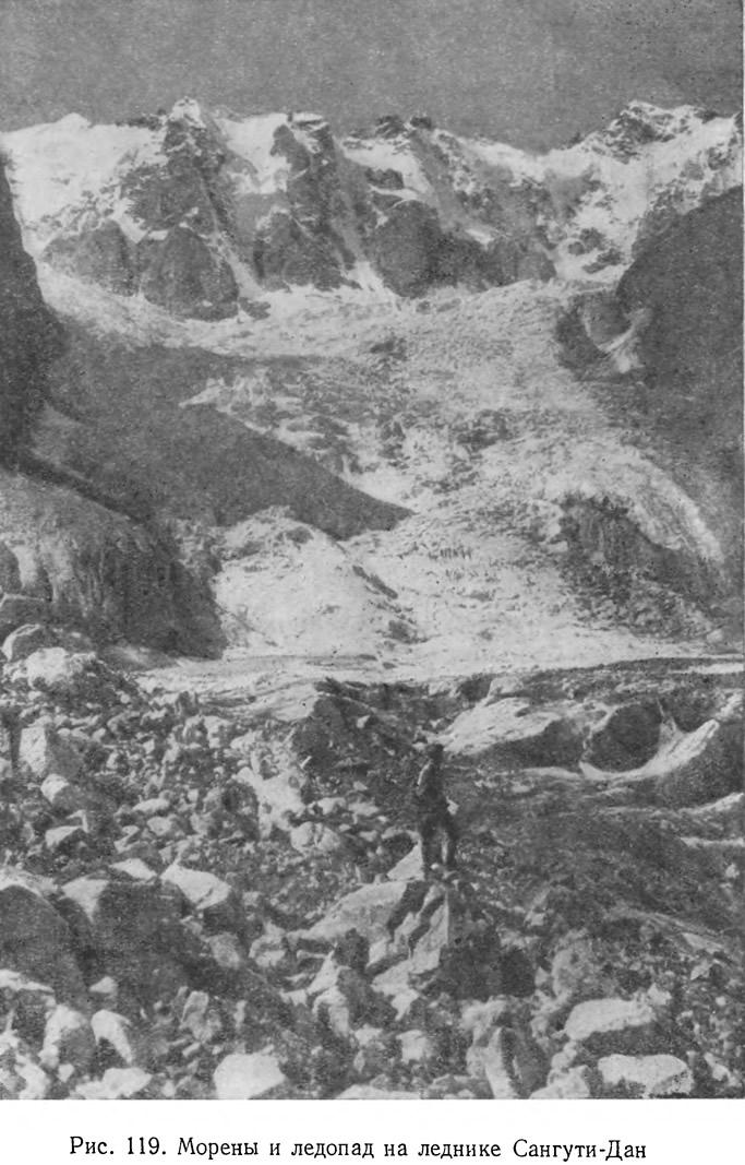 Рис. 119. Морены и ледопад на леднике Сангути-Дан