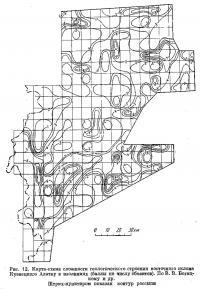 Рис. 12. Карта-схема сложности геологического строения склона Кузнецкого Алатау