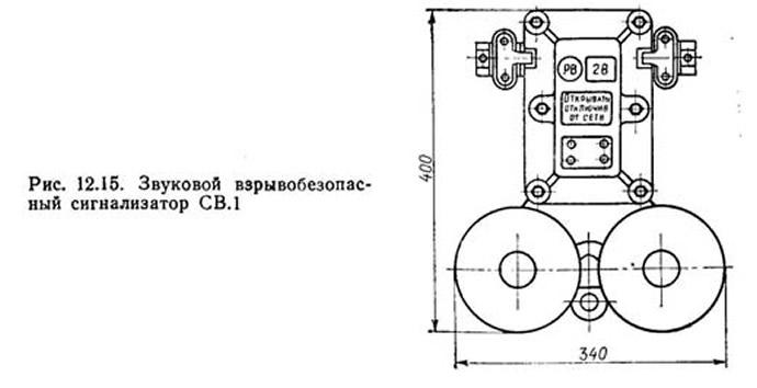 Рис. 12.15. Звуковой взрывобезопасный сигнализатор СВ.1