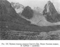 Рис. 123. Правая сторона ледника Сангути-Дан. Видна боковая морена