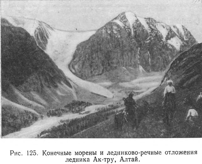 Рис. 125. Конечные морены и ледниково-речные отложения ледника Ак-тру, Алтай