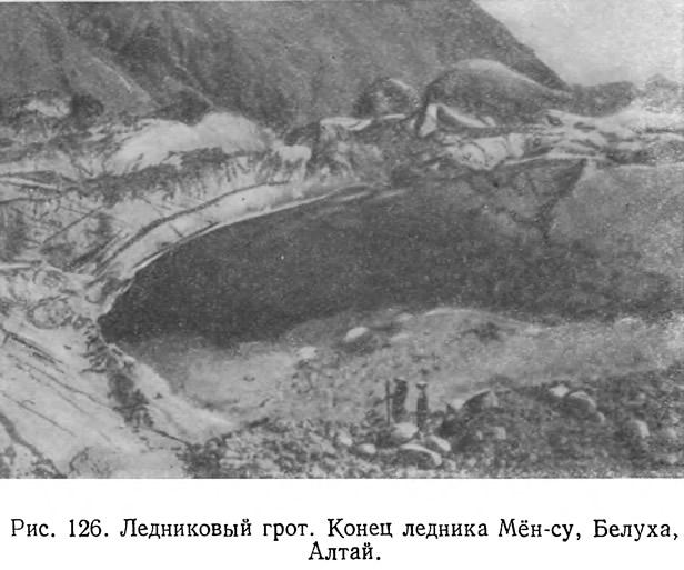 Рис. 126. Ледниковый грот. Конец ледника Мён-су, Белуха, Алтай