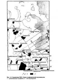 Рис. 1.3. Гыданская ГНО. Схема геофизической изученности