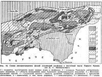 Рис. 16. Схема распространения фаций отложений оксфорда в восточной части Горного Крыма