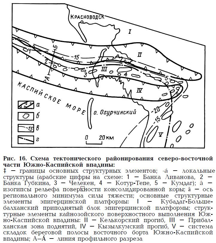 Рис. 16. Схема тектонического районирования северо-восточной части Южно-Каспийской впадины