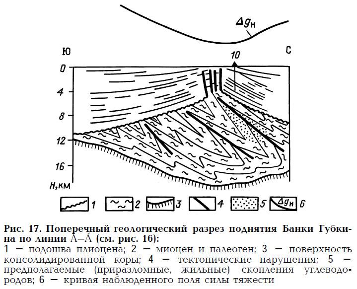 Рис. 17. Поперечный геологический разрез поднятия Банки Губкина