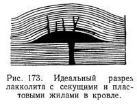Рис. 173. Идеальный разрез лакколита с секущими и пластовыми жилами в кровле