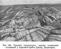Рис. 185. Плоская складчатость юрских угленосных отложений