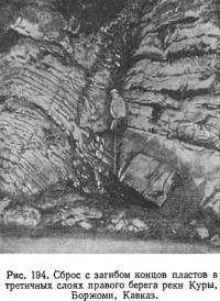 Рис. 194. Сброс с загибом концов пластов в третичных слоях правого берега реки Куры