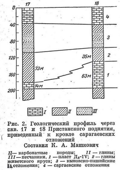 Рис. 2. Геологический профиль через скв. 17 и 18 Пристанского поднятия