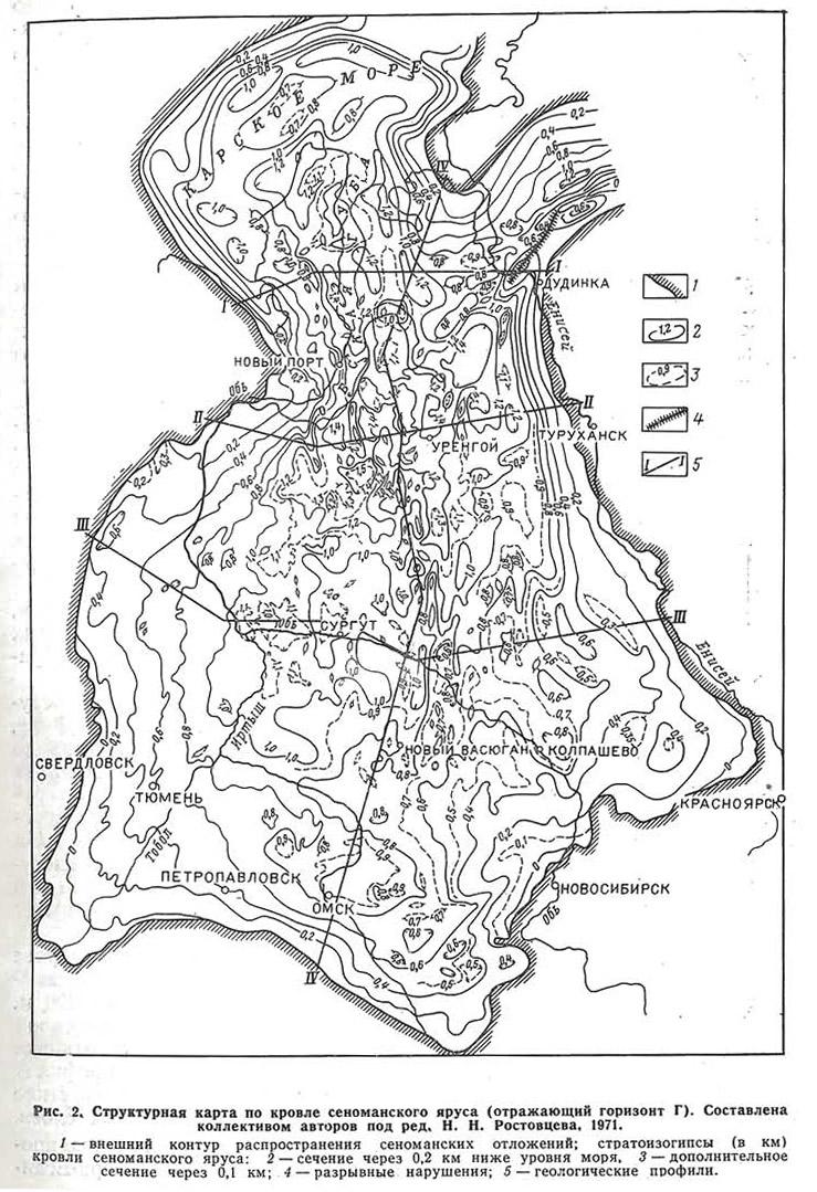 Рис. 2. Структурная карта по кровле сеноманского яруса