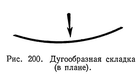 Рис. 200. Дугообразная складка (в плане)