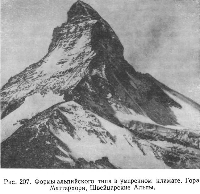 Рис. 207. Формы альпийского типа в умеренном климате